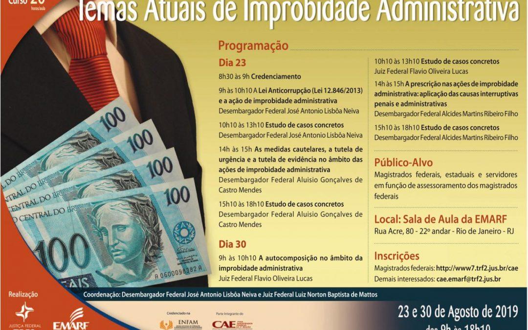 """Emarf promove em agosto curso sobre """"Temas Atuais de Improbidade Administrativa"""""""